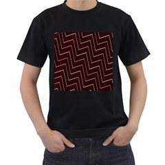 Lines Pattern Square Blocky Men s T-Shirt (Black) (Two Sided)