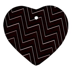 Lines Pattern Square Blocky Heart Ornament (two Sides)