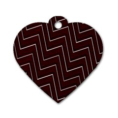 Lines Pattern Square Blocky Dog Tag Heart (two Sides)