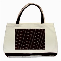 Lines Pattern Square Blocky Basic Tote Bag (two Sides)