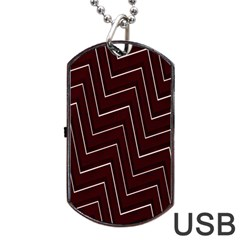 Lines Pattern Square Blocky Dog Tag Usb Flash (two Sides)