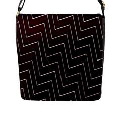 Lines Pattern Square Blocky Flap Messenger Bag (L)