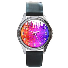 Square Spectrum Abstract Round Metal Watch