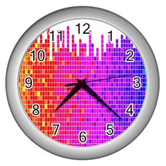 Square Spectrum Abstract Wall Clocks (Silver)