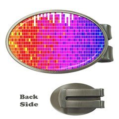 Square Spectrum Abstract Money Clips (Oval)
