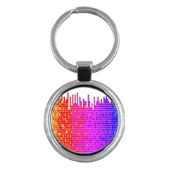 Square Spectrum Abstract Key Chains (Round)