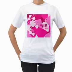 Flower Floral Leaf Circle Pink White Women s T Shirt (white) (two Sided)
