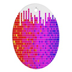 Square Spectrum Abstract Oval Ornament (Two Sides)