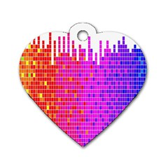Square Spectrum Abstract Dog Tag Heart (one Side)