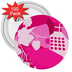 Flower Floral Leaf Circle Pink White 3  Buttons (100 Pack)