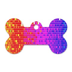 Square Spectrum Abstract Dog Tag Bone (two Sides)