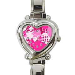 Flower Floral Leaf Circle Pink White Heart Italian Charm Watch