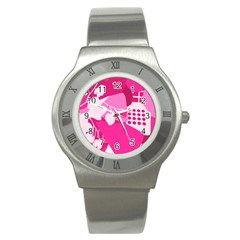 Flower Floral Leaf Circle Pink White Stainless Steel Watch