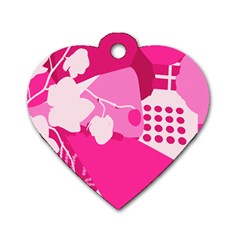 Flower Floral Leaf Circle Pink White Dog Tag Heart (one Side)