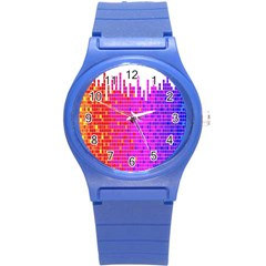 Square Spectrum Abstract Round Plastic Sport Watch (S)