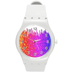 Square Spectrum Abstract Round Plastic Sport Watch (M)