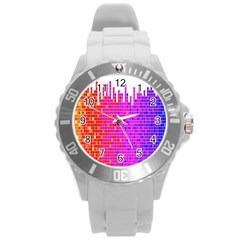 Square Spectrum Abstract Round Plastic Sport Watch (L)