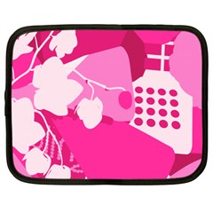 Flower Floral Leaf Circle Pink White Netbook Case (xxl)