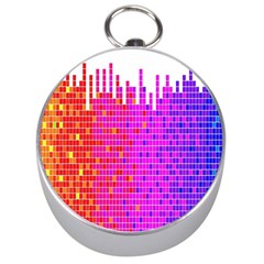 Square Spectrum Abstract Silver Compasses