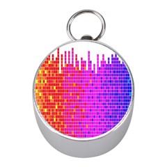 Square Spectrum Abstract Mini Silver Compasses
