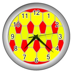 Football Blender Image Map Red Yellow Sport Wall Clocks (silver)