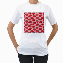 Fruit Strawbery Red Sweet Fres Women s T Shirt (white) (two Sided)