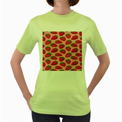 Fruit Strawbery Red Sweet Fres Women s Green T Shirt