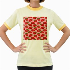 Fruit Strawbery Red Sweet Fres Women s Fitted Ringer T Shirts