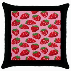 Fruit Strawbery Red Sweet Fres Throw Pillow Case (black)