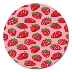 Fruit Strawbery Red Sweet Fres Magnet 5  (round)