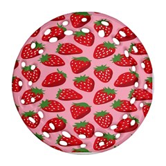 Fruit Strawbery Red Sweet Fres Ornament (round Filigree)