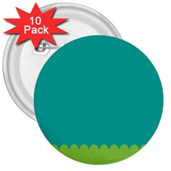 Green Blue Teal Scallop Wallpaper Wave 3  Buttons (10 Pack)