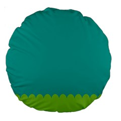Green Blue Teal Scallop Wallpaper Wave Large 18  Premium Round Cushions