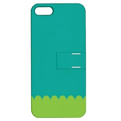 Green Blue Teal Scallop Wallpaper Wave Apple Iphone 5 Hardshell Case With Stand