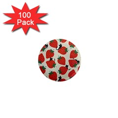 Fruit Strawberry Red Black Cat 1  Mini Magnets (100 Pack)
