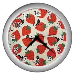 Fruit Strawberry Red Black Cat Wall Clocks (silver)