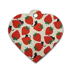 Fruit Strawberry Red Black Cat Dog Tag Heart (two Sides)