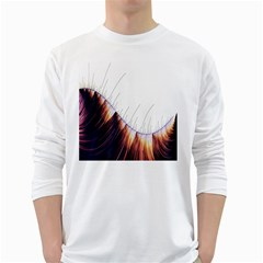 Abstract Lines White Long Sleeve T Shirts