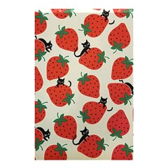 Fruit Strawberry Red Black Cat Shower Curtain 48  X 72  (small)