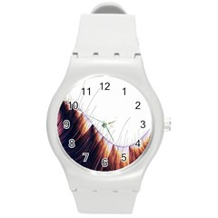Abstract Lines Round Plastic Sport Watch (M)
