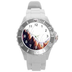 Abstract Lines Round Plastic Sport Watch (l)