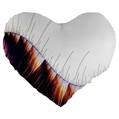 Abstract Lines Large 19  Premium Flano Heart Shape Cushions