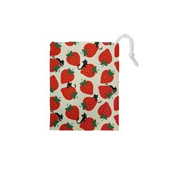 Fruit Strawberry Red Black Cat Drawstring Pouches (xs)