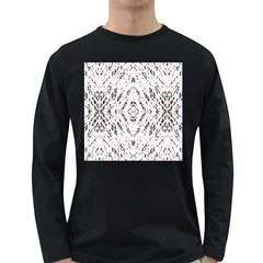 Pattern Monochrome Terrazzo Long Sleeve Dark T Shirts