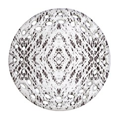 Pattern Monochrome Terrazzo Round Filigree Ornament (two Sides)