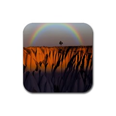 Rainbows Landscape Nature Rubber Square Coaster (4 pack)