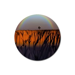 Rainbows Landscape Nature Rubber Round Coaster (4 Pack)