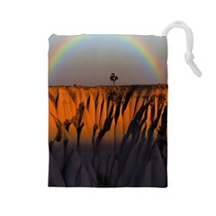 Rainbows Landscape Nature Drawstring Pouches (Large)