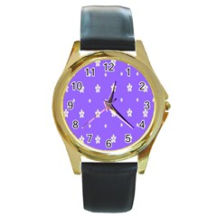 Light Purple Flowers Background Images Round Gold Metal Watch