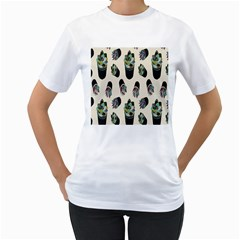 Succulent Plants Pattern Lights Women s T Shirt (white) (two Sided)